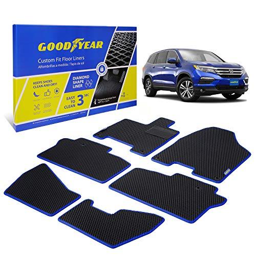 Goodyear Custom Fit Car Floor Liners for Honda Pilot 2016-2021, Black/Black 6 Pc. Set, All-Weather Diamond Shape Liner Traps Dirt, Liquid, Rain and Dust, Precision Interior Coverage - GY004081