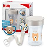 Nuk Magic Cup & Set, Magic Cup Trinklernbecher Space Schnuller & Schnullerkette, 6+ meses, BPA-libre, oso/gris,