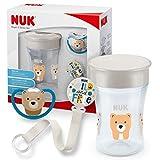 NUK Magic Cup & Set, Magic Cup Trinklernbecher, Space Schnuller & Schnullerkette, 6+ Monate, BPA-frei, Bär/Grau, 3 Stück