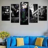 YHUJIK 5 Paneles murales Película de Dark Joker 5 Impresiones en Lienzo HD imágenes Modernas decoración del hogar Lienzo Impreso Pinturas en Lienzo.150x80cm