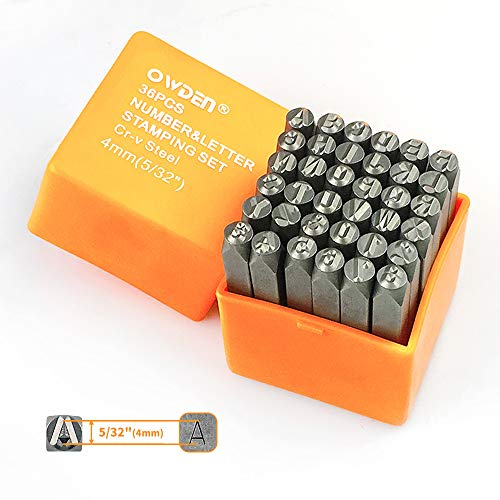 """OWDEN Professional 36Pcs.Steel Metal Alphabet and Figure Punch Set (5/32"""") 4mm Uppercase,Steel Number and Letter Punch Set, Jewelry Craft Stamping Tool."""