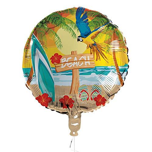 Boland 52495 - Globo de plástico (45 cm, Doble Cara, Helio, Playa, Vacaciones, Regalo), diseño de Playa
