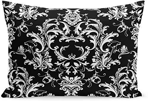 Beautful - Funda de cojín con diseño de damasco barroco, color blanco y negro, diseño de flores