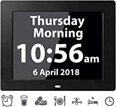 [12 Alarms] Digital Day Alarm Clock Electronic Calendar Large Clocks Reminder for Memory Loss Elderly Seniors Dementia Sufferers Alzheimers Products Wall Vision Impaired Patients Kids Room (8'' Black)