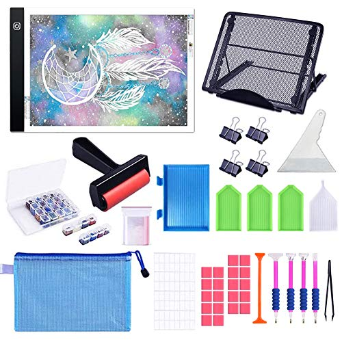 A4 Diamond Painting Light Pad Kits with Metal Stand A4 LED Light Board USB Powered Dimmable Tracing Light Box with Diamond Painting Accessories Tools for 5D Diamond Painting/Art amp Drawing