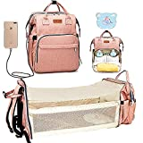 Cosy Casa Baby Diaper Bag Backpack with Travel Bassinet Changing Station Mat Portable Crib for Baby Girl Boy Infant Mom, Mommy Bag Tote with Toddler Bed Sleeper Diaper-Bag-Backpack(Pink-Upgrade)