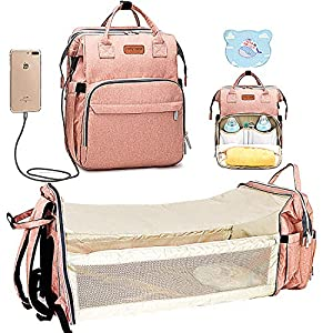 crib bedding and baby bedding cosy casa baby diaper bag backpack with travel bassinet changing station mat portable crib for baby girl boy infant mom, mommy bag tote with toddler bed sleeper diaper-bag-backpack-baby-travel(pink)