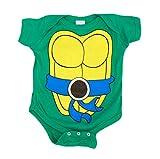 Teenage Mutant Ninja Turtles Green Leonardo Costume Infant Baby Onesie Romper (Blue Belt) (18 Months)