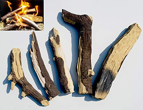 Gasfeuer, 5er Set extra realistische Keramikscheite geeignet für Gasfeuer/lebende Flamme/Gas-Feuerstellen