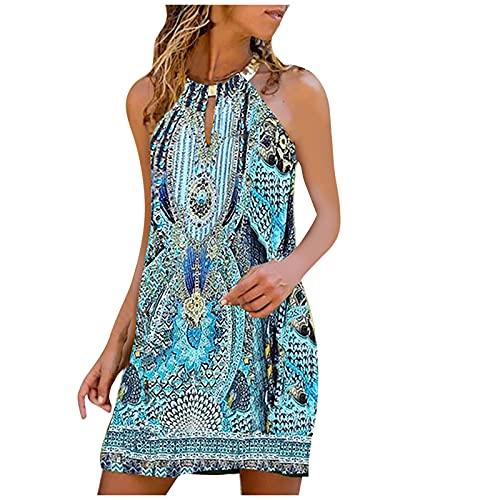 Vestido de verano para mujer, de metal, sin mangas, talla grande, informal, sexy, multicolor, moderno, elegante, suelto, para fiestas, playa, blusa, azul claro, XXXXL