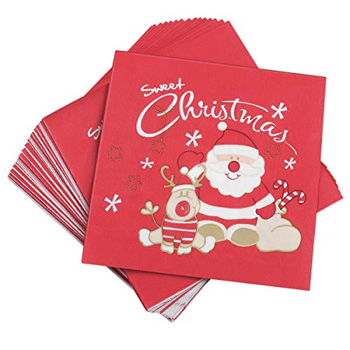 BESTonZON 20 pz Tovaglioli di Natale Confezione da tovaglioli da tavola Stampati Babbo Natale...