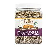 Pride Of India - Indian Whole Brown Lentejas carmesí - 1,5 lbs (680 g) Jar -Lentejas nutricional culinario sano: proteína rica (9 g) y fibra dietética (5 g) por porción (16 porciones)