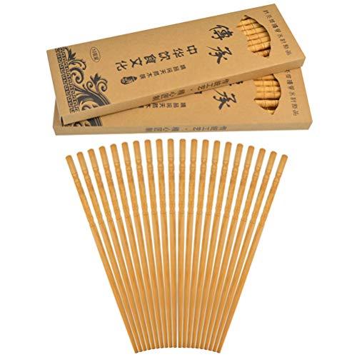 Jerbro 30 Paar natürliche Bambus Holz Essstäbchen, Multikulturelle Alte Asiatische Weisheit rutschfeste Klassische Chinesische Japanische Koreanische Essstäbchen mit 3 Boxen
