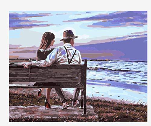 WDJHC Pintura por NúMeros Dibujos para Pintar con NúMeros Pigmento AcríLico Personalizado DIY para Adultos,NiñOs Y Principiantes DecoracióN del Hogar - Pareja Junto Al Mar 16x20 Pulgadas (Sin Marco)