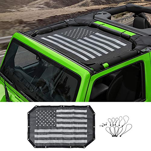 Voodonala for Jeep JK Sunshade Mesh Sun Shade Bikini Top for 2007-2018 Jeep Wrangler JK JKU 2 Door & 4 Door, Flag Black