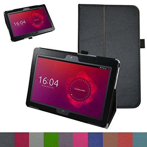 MAMA MOUTH bq Aquaris M10 Funda, Slim PU Cuero con Soporte Funda Caso Case para 10.1 bq Aquaris M10 FullHD FHD HD/Aquaris M10 Ubuntu Edition Android Tablet,Negro