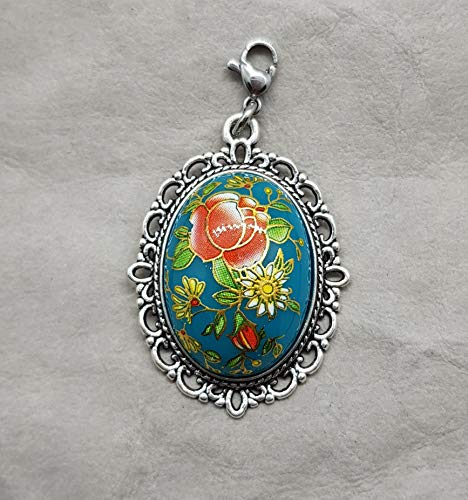 Charm ☘ Trachtenschmuck ☘ Rosen, hellblau ☘ Anhänger ☘ Karabiner ☘ Bettelarmband ☘ Schlüsselanhänger ☘ Accessoires ☘ Oktoberfest ☘ Halskette