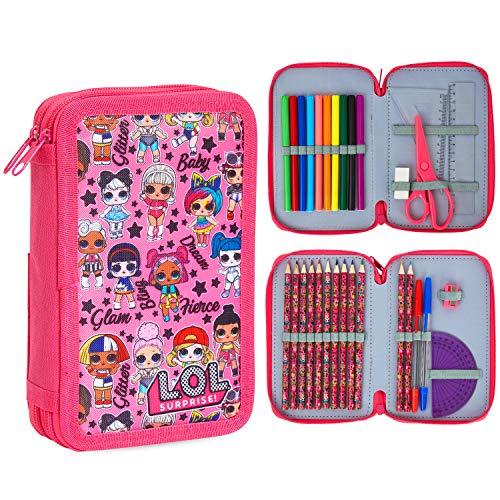 L.O.L. Surprise! Estuche con relleno, lápices de colores y bolígrafos para niños