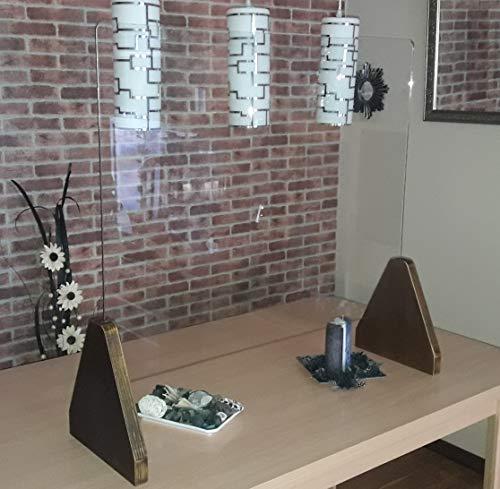 Mampara Mostrador Cristal 118 * 90 * 29 Vidrio Seguridad Templado 6mm. Madera contrachapada 30mm Fabricada en la UE (Miel, 118)
