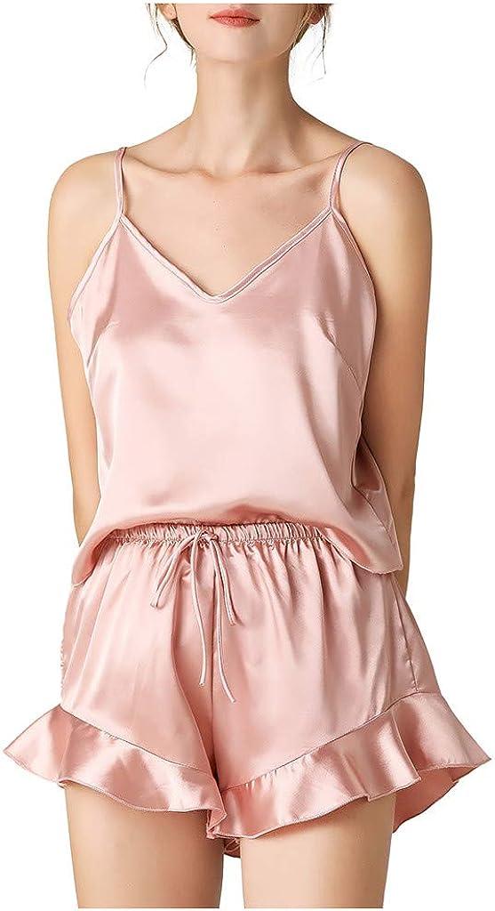 Women's Sling Pajamas V-Neck Nightgowns Lace Drawstring Sleeveless Tank Tops Sleepwear Nightwear Pj Sets