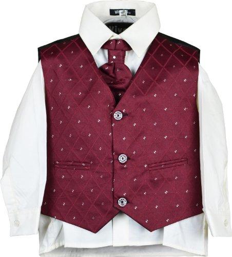 Vivaki Kinder 4-teiliges Anzug Hemd Krawatte Weste und Hose Jungen Hochzeit Outfit Gr. 2 Jahre, kastanienbraun