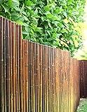 DE-COmmerce Robuster Bambus Holz Sicht Schutz Zaun ATY NIGRA I hochwertiger Windschutz Terrasse, Balkon, Garten I Bambusrohr Zaun mit geschlossenen Rohren 150 cm x 250 cm