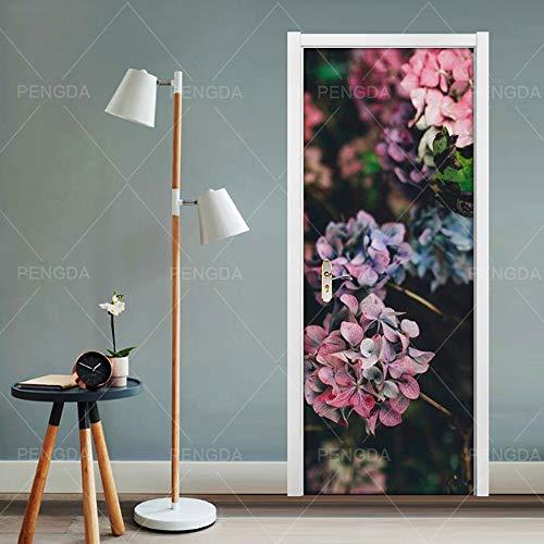 HHANN Papel Pintado Puerta Escalera 3D 88Cm X 200Cm Planta Hermosa Flor Foto Mural Incluye Pegamento Impermeable Papel Pintado Puerta Mural Vinilos Decorativos Para Puertas