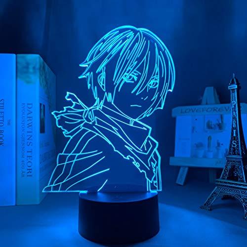 Anime Noragami Yato Figur Led Nachtlicht für Schlafzimmer Dekor Licht Brithday Geschenk Manga Noragami 3d Tischlampe Acryl, 16 Farben mit Fernbedienung