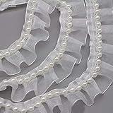 LANEHUA 5 Yards Beaded Pearl Trimming Lace Ribbon for Bridal Wedding Decorations, Sewing DIY Making and DIY Crafts
