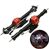 Que-T Aluminum Alloy Front Axle and Rear Axle for 1:10 Axial Wraith 90018 RC Model Crawler Car (Black)