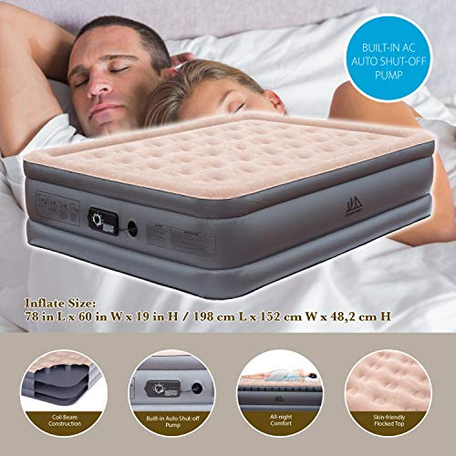 JCA Queen Double Raised Air Mattress with Built-in Auto Shut-Off Pump - Best Inflatable Airbed Queen Size - Elevated Raised Air Mattress