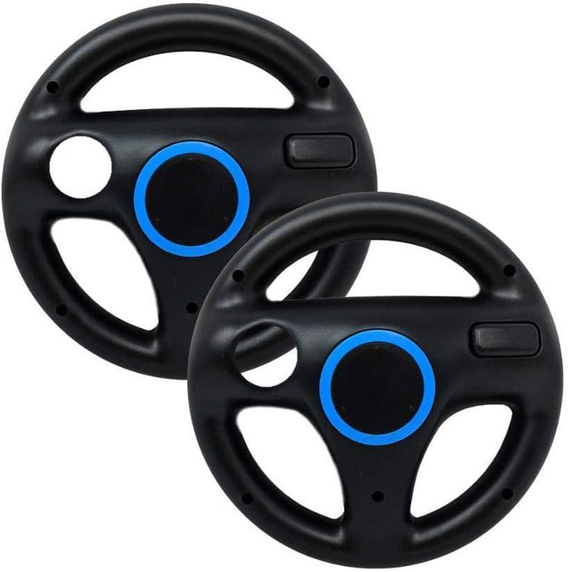 PlayHard 2 Pack Racing Steering Wheels Compatible with Wii, Wii U Mario Kart Racing Games (Black X 2)