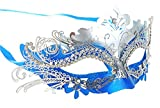 Masquerade Mask Shiny Metal Rhinestone Venetian Pretty Party Evening Prom Mask,Silver and Blue,One size