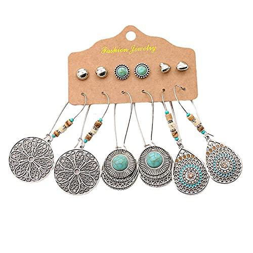 Moares - Orecchini da donna, 6 paia di orecchini pendenti a forma di foglia in stile etnico con geometria, con nappe, per date, 6, Metallo,