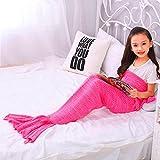 Flarolly 【Promotion】 Meerjungfrauendecke, Mermaid Schwanz Blanket, Meerjungfrau Häkeln Decke Sofa Schlafdecke, weiche Strick Mermaid Schwanz Schlafsack für Kinder Size 55'X27.6' (Pink)