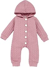 Weilov Baby Boy Girl Romper Newborn Infant Jumpsuit Toddler Bodysuit one Pieces Unisex Clothing Outifits Kids Long Sleeve Hooded Sweater Knitted Suit Set