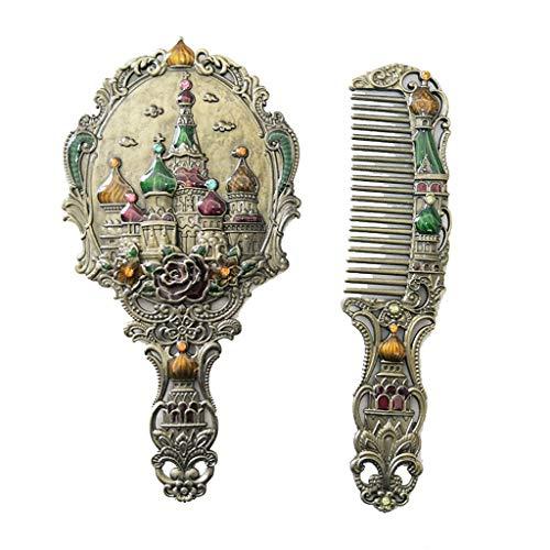 Maquillage Château Miroir Chinois Vintage Creux-Out Sculpture Strass Miroir Peigne Ensemble Miroir À Main Cadeaux Créatifs,A