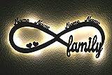 LED Deko Schlummerlicht Nachtlicht Famile die Unendlichkeit, Name Herz herzchen Unendlichkeitszeichen liegende Acht liebesbeweis personalisiert mit Wunsch Namen Lasergravur Abendlicht