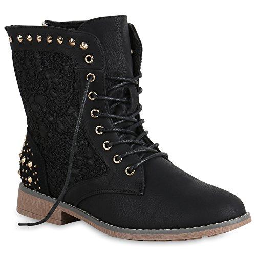 Schnürstiefeletten Damen Stiefeletten Spitze Nieten Schuhe 147515 Schwarz Nieten 36 Flandell