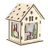 Duokon Cabaña de Madera Casa Árbol de Navidad Adornos Colgantes Lindo Mini Luminoso Decoración de Cabina con Velas para Navidad Familia Festival de Año Nuevo(Reno Grande)