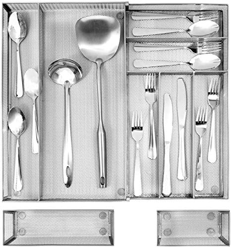 Expandable Kitchen Drawer Organizer, 7+2 Separate Compartment with Anti-slip Mats Mesh Kitchen Cutlery Trays Silverware Storage Kitchen Utensil Flatware Tray