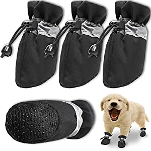 FURNOSE Dog Boots Non Slip Dog Shoes for Large Medium Small Dogs with Reflective Straps, Dog Paw Protectors for Hot Pavement/Winter/Snow 4PCS (Black/Size 4: 1.96″x1.57″(LW))