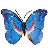Cabilock Mariposa Decoraciones de Pared Arte de La Pared Escultura Vintage Jardín Colgante de Pared Decoraciones Adornos 40Cm Azul