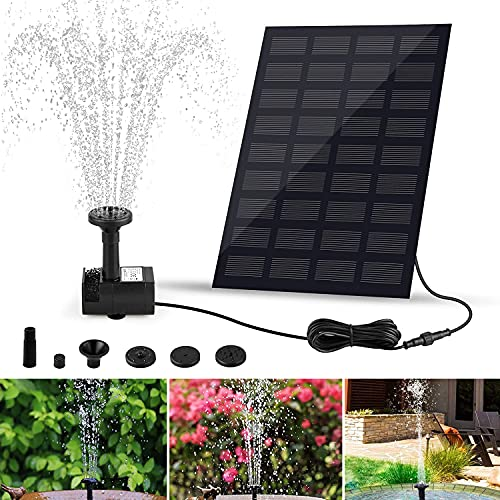 Bomba Fuente Solar, otutun 1.8W Bomba de Agua Solar Exterior con 4 Boquillas Bomba Agua Solar Estanque Fuente de Agua Solar para Estanque Pequeño, Pajaros, Piscina, Acuario