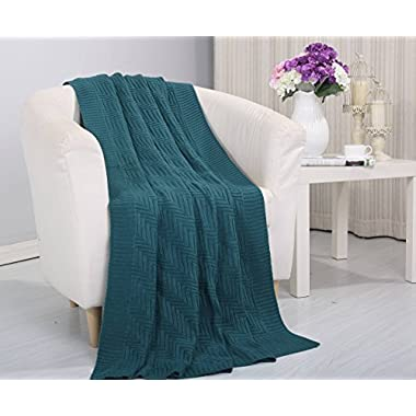 Soft Touch Classic Woven Knitted Throw Blanket (50  x 60 ) - Teal