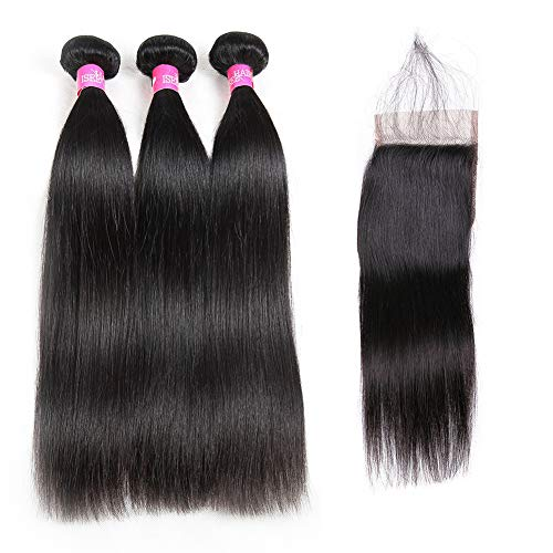 ISEE Hair 8A Malaysian Straight Hair 3 Bundles With Closure Virgin Unprocessed Human Hair Wefts Hair Extensions Deal With Mixed Lengths 22 24 26 Inches With 20 Inches Free Part Closure
