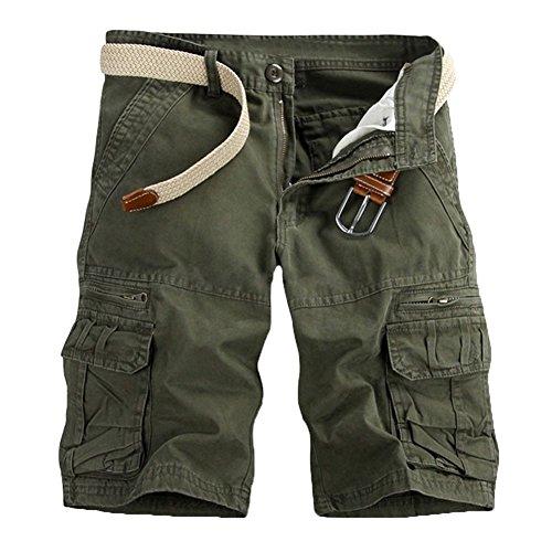 GUOCU Pantalón Corto Deportivo Cargo Shorts Hombres Bermudas Sport Casual Verde del Ejército 2 32