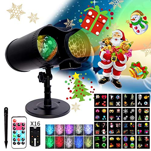 LED Halloween Christmas Outdoor HolidayProjector Lights Ocean Wave 16Slides Projection Light Remote Control WaterproofIndoor Outdoor for Holidays HalloweenParties Xmas