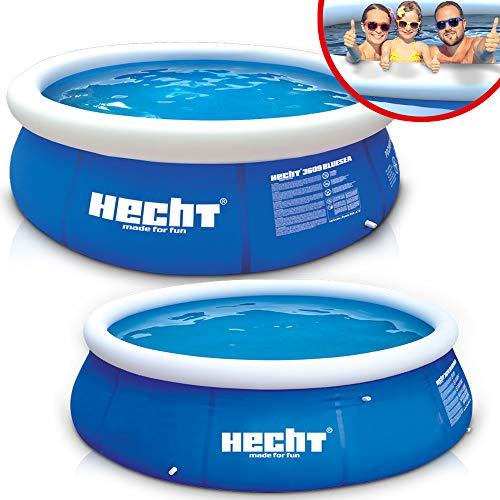Großer HECHT Quick Up Pool Familienpool – 360 x 90 cm und 300 x 76 cm zur Auswahl – Aufblasbarer Luftring – XXL Badespaß für Groß und Klein...