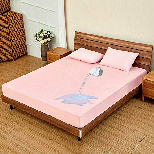 Jilijia Waterproof Mattress Protector Multiple sizes Mattress Cover Breathable Terry Cotton Mattress Cover Mattress Protector Against Bed Bugs, Dust Mite, Allergy (Pink, 137X191CM)